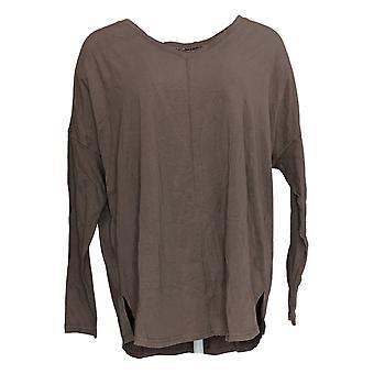 Anybody Women's Top Cozy Knit Long Sleeve Top w/ Ribbing Beige A372086