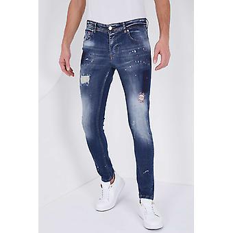 Jeans With Paint Drops - Slim Fit - 5201C- Blue