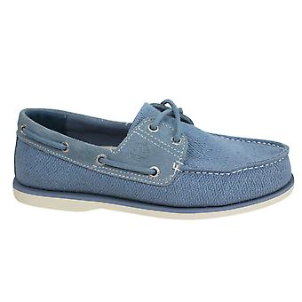 Timberland Earthkeepers Mens Lace Up Blue Leather Fabric Boat Shoes A16NH X9A