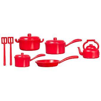 Casa de muñecas miniatura cocina accesorio rojo Salsa Pan Set 1:12 utensilios de cocina