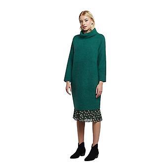 Louche Womens Juana Knitted Rib Detail Roll Neck Jumper Dress Teal