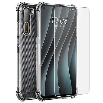 Back cover for HTC Desire 20 Pro Flexible Case with Bumper Corners Transparent