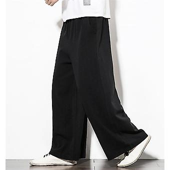 Hip Hop Wide Leg Pants Men Casual Loose Trousers Big Size Cotton Linen Pants
