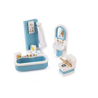 Tidlo boneca de madeira'conjunto de móveis de banheiro da casa