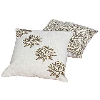 Oreiller imprimé en coton 18 x 18 blocs à main avec détails floraux, ensemble de 2, or et beige