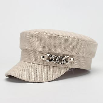 Military Hat & Women Flat Top Cotton Painter Cap/hats Spring Summer Hat With
