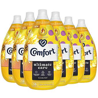 6x of 870ml Comfort Ultimate Care Sunburst Concentrated Fabric Conditioner 58W