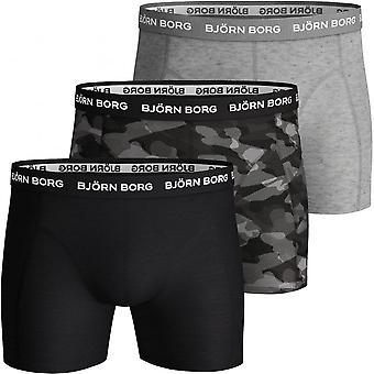 Bjorn Borg 3-Pack Super Shade Boxer Trunks, Black/Grey