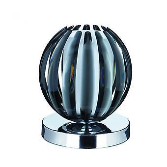 Lampes tactiles Lámpara De Mesa, En Cromo, Acrílico Ahumado Y Vidrio Esmerilado