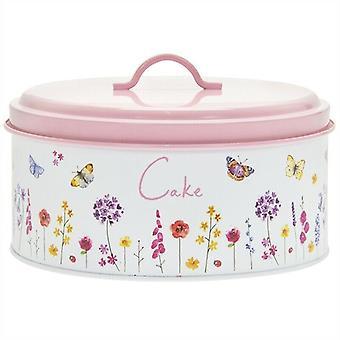 Butterfly Garden Round Enamel Metal Cake Tin Baking Storage