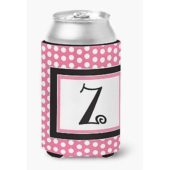 Buchstabe Z anfängliche Monogramm - rosa schwarz Polka Dots Dose oder Flasche Getränk Isolator Hugger