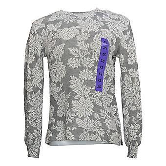 Ellen Tracy Women's Jacquard Crewneck Bubble Sleeve Pullover White