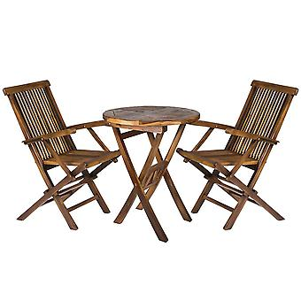 Solid Hardwood Round Garden Dining Drinks Table with 2 Outdoor Folding Chairs