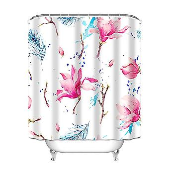 Anti-mildew and waterproof super long printed shower curtain with 12 hooks 180 x 180cm
