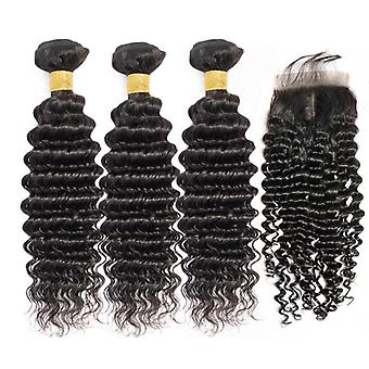 9a Grado Malesia Human Hair Extension 1/3/4 Deep Wave Fasci con