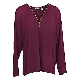 Denim & Co.Women&s Top Heavenly Jersey V-Neck Half Zip Purple A342506