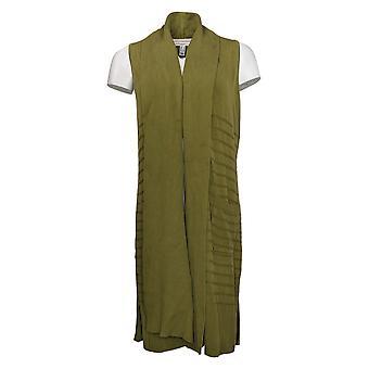Isaac Mizrahi Live! Damen Pullover Schal Kragen lange Weste grün A384083