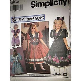 Ompelu kuvio 0682 Yksinkertaisuus Daisy Kingdom Girls Dress & Romper Koko 6-8 Leikkaamaton