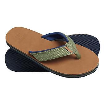 Superdry Surf Leather Flip Flops - Olive