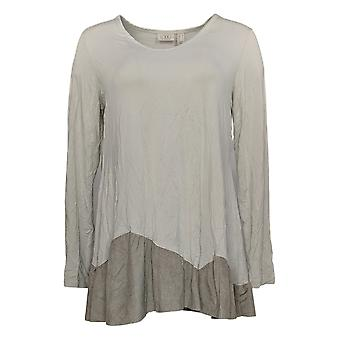 LOGOTIPO Por Lori Goldstein Women's Top Faux Suede Flounce Gray A366350