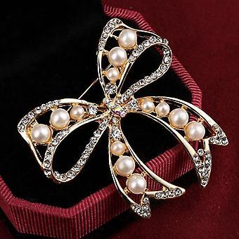 Schmuck Vintage Gold Brosche Pins, Kristalle Nachahmung Perle, Blumenhochzeit