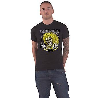 Iron Maiden T Shirt Killer World Tour 81 Band Logo new Official Mens Black