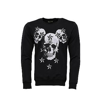 Black skulls printed sweatshirt