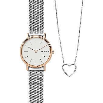 Skagen watch signature slim special pack + necklace skw1106