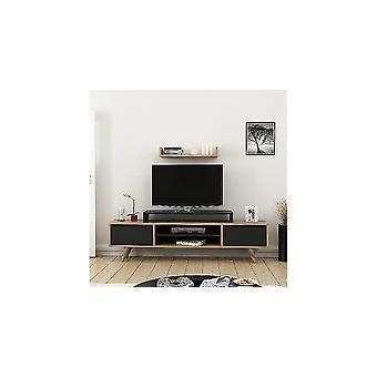 Mobiele tv-poort Melis Kleur Zwart, Hout, in Spaanplaat Slijm L160xP30xA48 cm