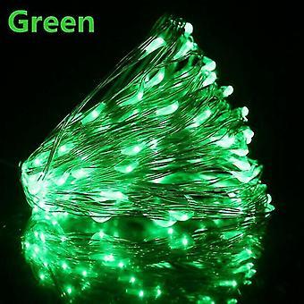Usb 10m 100 leds usb الخضراء قاد أضواء سلسلة 10m 5m 3m 2m، الفضة سلك ضوء خرافية للماء az16775