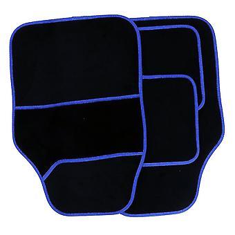 Streetwize Velour Carpet Mat Sets with Coloured Binding - 4 Piece Black/Blue