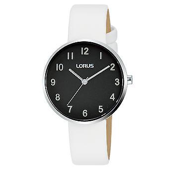 Lorus RG225SX9 Ladies Black Dial White Leather Strap Watch