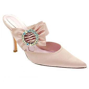 Magrit Pale Pink Satin High Heel Mule Court Shoe With Diamante Bow