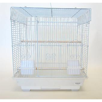 """5824 3/8"""" Bar Spacing Squaretop Small Bird Cage - 18""""X14"""" In White"""