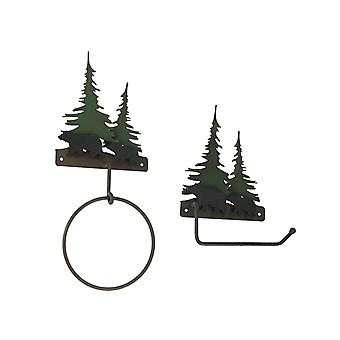 Metal Bear Forest Toilet Paper And Towel Holder Set Bathroom Wall Mounted Decor