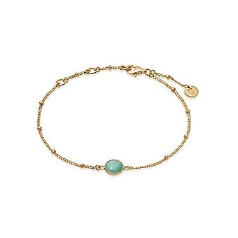Daisy Amazonite Healing Stone Bobble 18ct Gold Plate Bracelet HBR1003_GP