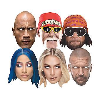 WWE Legendariska Brottare Officiella 2D Card Party Ansiktsmasker Variety 6 Pack