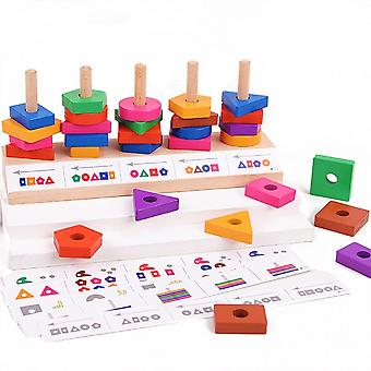 Baby Toy Stacking Blocks Developmental Wooden Puzzle Tumble Block Early Learning Sorting & Matching Game For Kids Age3+