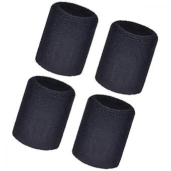 Sports armbånd, 4pcs Elastisk Athletic Bomuld Wrist Bands for fodbold basketball, Running Athletic Sports (sort)