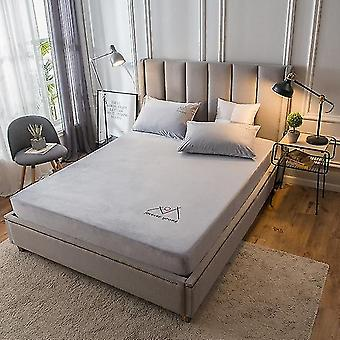 Solid Color Coral Velvet Fitted Bed Sheet Mattress Protective Cover Warm Soft