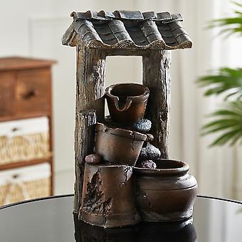 Honigtopf Kaskadenkrüge Wasserfall LED Wasserspiel Brunnen Wohnzimmer