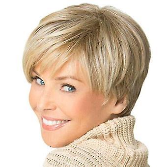 Femei Peruci scurt drepte Pixie Boycut Stil golden blond blond stratificat peruca Hairpiece