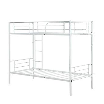 White Single Bunk Bed With Strong Slat & Ladder & Safety Guardrail