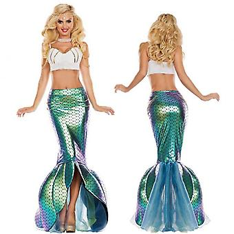 Adult  Shiny Mermaid Skirt Costume, Role Play Waist Pearl Chain Included
