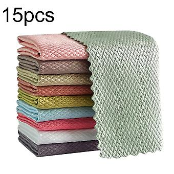 5/10pcs Wave Pattern Fish Scale Cloth Rag 30x40cm Water Absorbable Glass Kitchen Cleaning Cloth