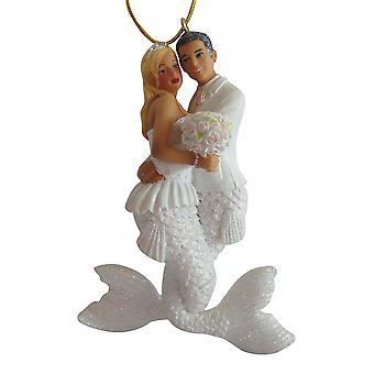 December Diamonds Bride and Groom Wedding Mermaid and Merman Holiday Ornament