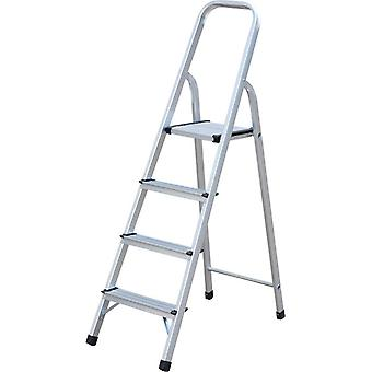 Builders Brand Aluminium Step Ladder 4 Step - Non Slip Treads - Ladder Made From Lightweight Aluminium Certified to BS EN 131 Part 2