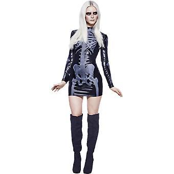 Koorts collectie Miss whiplash skelet kostuum zwart bedrukte jurk maat M