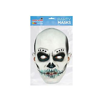 Day of the Dead White Zombie Male Single 2D Card Party Fancy Dress Mask