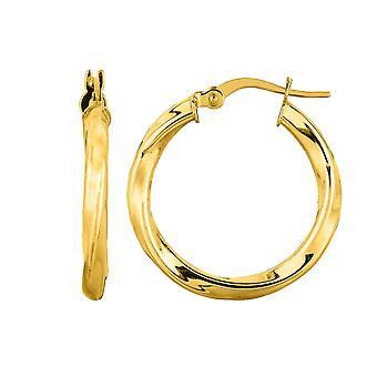 ك 14 أنبوب جولة الذهب الأصفر تويست الإيطالية هوب أقراط، قطرها 20 مم